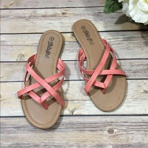 Coral Strappy Sandals